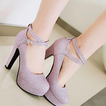 New Purple Round Toe Sequin Chunky High-Heeled Shoes
