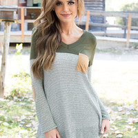 Soul Beauty Striped Accent Top Green