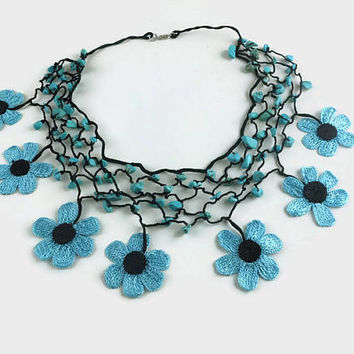 Blue and black  Crochet Flower Neckace, Beaded Choker, Turkish Oya, Daisy necklace, Knitted Necklace, Crochet Summer Jewelry,