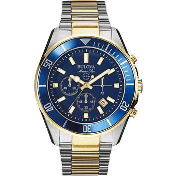 Bulova Mens Chronograph Marine Star - Blue Dial - Two-Tone Case/Bracelet