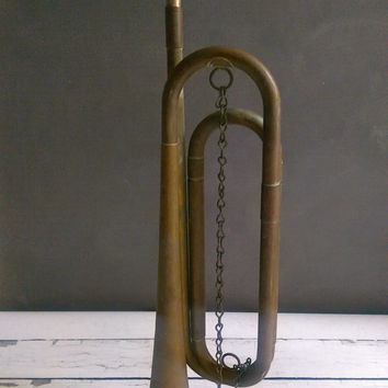 US Regulation Bugle/ US Military Bugle/ US Regulation Horn/ Antique Military Bugle/ Antique Military Decor/ Vintage Brass Horn