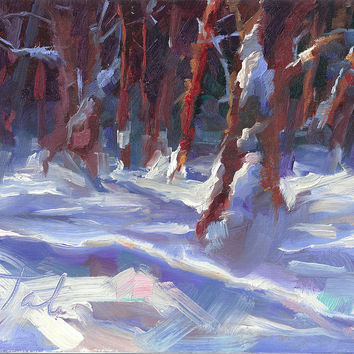 Snow Laden - winter snow covered trees Painting by Talya Johnson - Snow Laden - winter snow covered trees Fine Art Prints and Posters for Sale