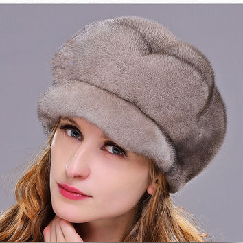 HM021 Real genuine mink  fur hat  winter women's warm caps whole piece mink fur hats