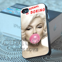 Marilyn Monroe With Pink Bubble Gum - Rubber or Plastic Print Custom - iPhone 4/4s, 5 - Samsung S3 i9300, S4 i9500 - iPod 4, 5