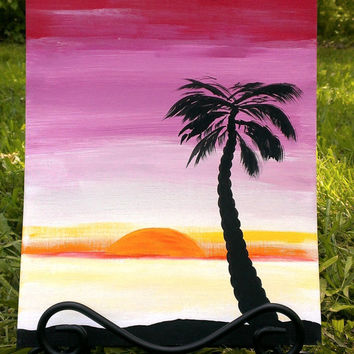 Hawaiian sunset painting – Hawaiian art – Sunset painting - Palm tree painting – Palm tree art – Sunrise painting – Hawaiian sunrise art