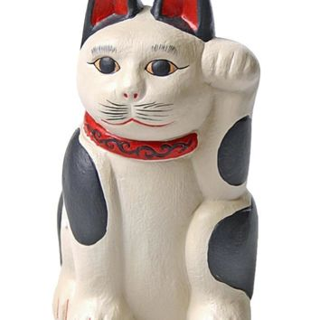 Japanese Good Luck Cat Black and White with Paw Raised, Meneki Neko 3.5H