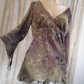 Size Medium/Large Green Sparkly Baby Doll Style Blouse Ragged Bell Sleeves Hippie Boho Style Clothes Vintage Uneven Bell Angel Sleeves Sheer