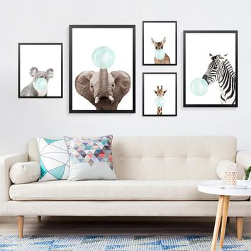 Blue Bubble Animals Posters And Prints Wall Art Canvas Painting, Wild Animals Art Wall Pictures For Children Room HD2378
