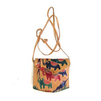 Small Leather ELEPHANT Purse Vintage 90s Tool Leather India Purse Sheep Skin Leather Crossbody Purse Colorful Brown Pink Green Blue Tribal