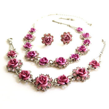 Vintage Avon Rhinestone Flower Set, Rose Floral Necklace, Earrings, Bracelet, Full Parure, Pink, Silver tone