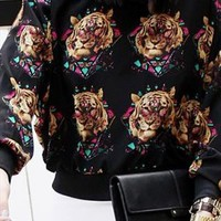 tiger pattern woven jumper blouse shirt  from mancphoebe