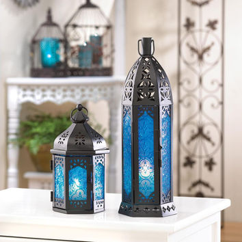 Candle Lantern-Blue Rosette Glass