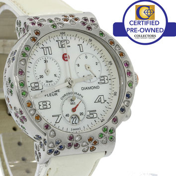 Ladies Michele Extreme Fleur Steel Flower Bezel MW04A13 Quartz 38mm Chrono Watch