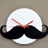 Hipster Moustache - Black & White Silhouette - Wall Clock