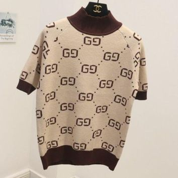 PEAPJ1A GUCCI new autumn and winter high-necked short-sleeved double g letter sweater women Apricot