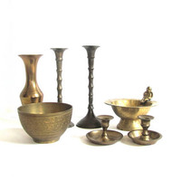 Instant Collection of Vintage 1960s brass candle holders , bowls and vase