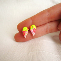 Neon earrings, Tiny hand painted parrot stud earrings made from polymer clay