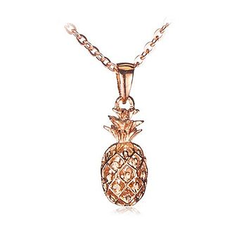 Pink Gold Plated Sterling Silver Pinapple Pendant(Chain Sold Separately)