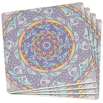 Mandala Trippy Stained Glass Fish Set of 4 Square SandsTone Art Coasters