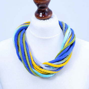 Blue, thick, soft, multi strand, twist felt rope necklace [N31]