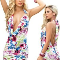 Sexy Floral Print Halter Dress: Clothing