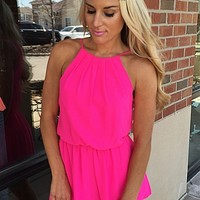 Playful Romper - Hot Pink : Mesh