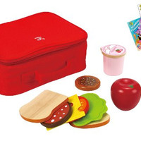Hape E3131 Lunchbox and 11 Piece Play Food Set with Coloring Book