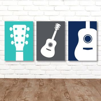 Boy GUITAR Wall Art, Music Theme Guitar Nursery Decor, Boy Guitar Bedroom Pictures, Music Rock and Roll Set of 3 Guitar art Canvas or Prints
