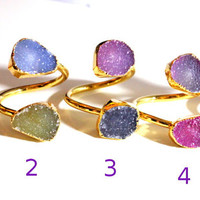 SALE ~ Druzy ring 24K Gold Plated- custom size - pick your design, Agate Druzy two stones