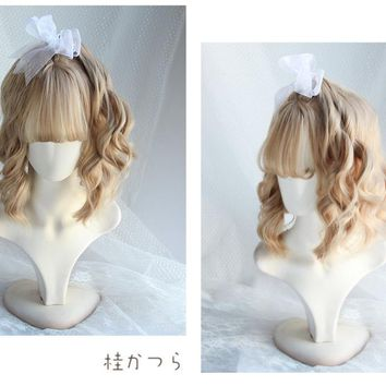 You Xi Chuan Flower Tea Party Wig Brown Wavy Front Lace Heat Resistant Synthetic Hair