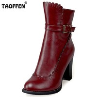 TAOFFEN Plus Size 30-48 Women Thick High Heel Ankle Winter Boots For Women Zipper Agrafe Ladies Shoes Warm Plush Inside Botas
