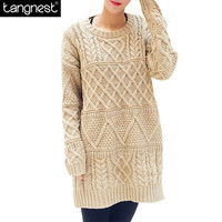 TANGNEST Women Knitted Loose Sweater 2016 Jumper Knitwear Casual Vintage Cable Needle O-neck Pullover Women Pull Sweater WZM539