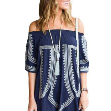 PEAP78W Bohemian Vibe Geometric Print Off The Shoulder Beach Dress
