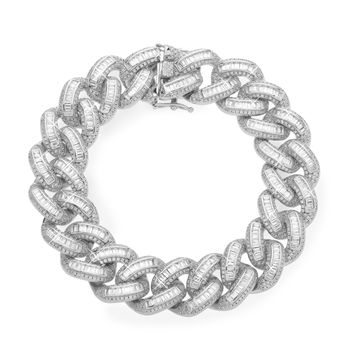 19mm Iced Cuban Link Bracelet In White Gold
