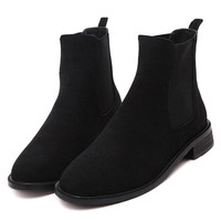 Black Fleece Lining Suedette Ankle Boots