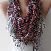 Red - Grey Flowered Chiffon Scarf with Grey Trim Edge - Triangular - ON SALE
