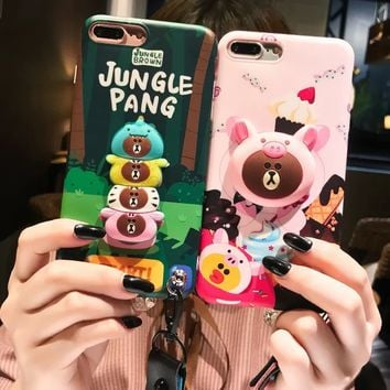 Korea cartoon 3D cute  bear cake pig protective sleeve iphone 6 6Plus 7 7plus 8 8plus X  XS soft strap lanyard phone cases