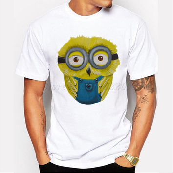 Asian Size fashion owl minion design men t-shirt short sleeve casual tee hipster funny minions tops cool shirts