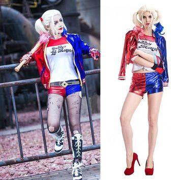 New Women Girls Harley Quinn T-shirts Top Jacket With Wig Costume Suicide Squad cosplay Halloween Costumes