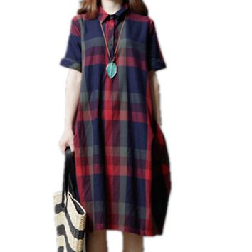2019 Fashion Plaid Print Turn-down Collar Shirt Dress Cotton Linen Women Summer Dress Plus Size Casual Vintage Dress Vestidos