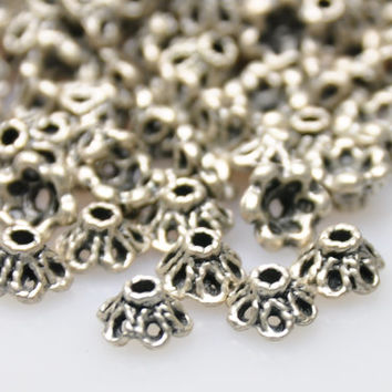 15 Pieces Silver Plated Jewelry End Bead Caps, Silver Jewelry Spacer Beads, Jewelry Findings