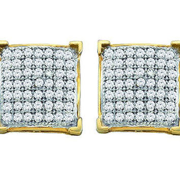Diamond Micro-pave Earrings in 10k Gold 0.25 ctw