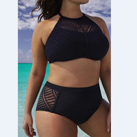 Mesh Plus Size High Waist Halter Bikini Set Swimwear