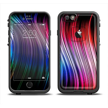 The Neon Rainbow Wavy Strips Apple iPhone 6 LifeProof Fre Case Skin Set
