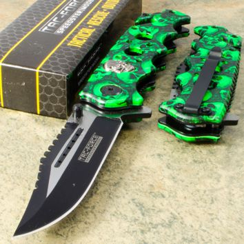 Skull Green Camouflage Tactical Knife