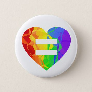 Fractal Rainbow Heart Marriage Equality Button