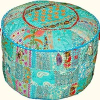 Indian Traditional Home Decorative Ottoman Handmade Pouf,Indian Comfortable Floor Cotton Cushion Ottoman Cover Embellished With PatchWork And Embroidery Work,Indian Vintage Ottoman Turquoise Pouf 12x16