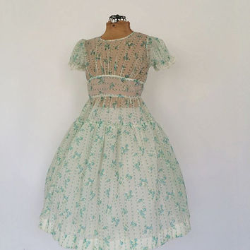 Vintage 1940s / 1950s Party Dress Sheer Cotton Voile Floral Dress Edwardian Little Girls Dress Flower Girl Gown Wedding Lolita Tea Dress