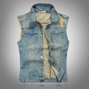 Slim Summer Men Denim Sleeveless Jacket Turn Down Collar Waistcoat