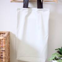 Beige and Brown Leather Tote Bag